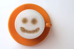Smiley Coffee. Start the day with a smile in your cup Stock Photo