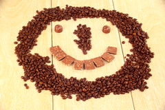 Smiley of coffee and chocolate Royalty Free Stock Image