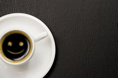 Smiley Coffee. Coffee with a smiley face Royalty Free Stock Photos