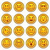 Smiley coins gold icons, signs symbol set Royalty Free Stock Image