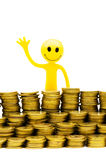 Smiley and coins isolated Royalty Free Stock Photo