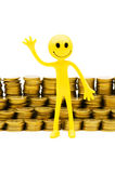 Smiley and coins isolated Royalty Free Stock Images