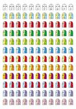 Smiley. Collection of 11 pictograms of various emoticons in 12 color tones. 132 smileys in various colors.  Face of small funny man Stock Photography