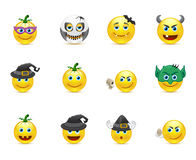 Smiley Collection su una festa Halloween Fotografia Stock
