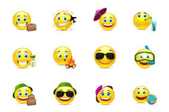 Smiley Collection travelers Stock Images