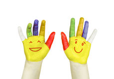 Smiley on colorful hands isolated Stock Images