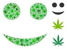 Smiley Composition of Hemp Leaves. In various sizes and green tinges. Vector flat hemp leaves are grouped into smiley illustration. Narcotic vector illustration Royalty Free Stock Image