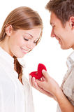 Smiley couple with ring. Portrait of smiley couple with ring Royalty Free Stock Images