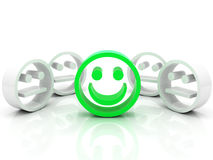 Smiley in the crowd. Bright smiley in the grey crowd Royalty Free Stock Photography