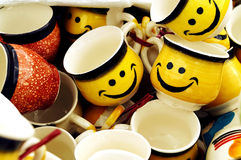 Smiley Cups for Lovable Couples Royalty Free Stock Photo