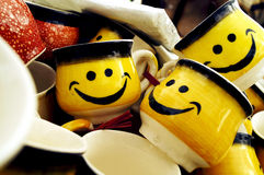Smiley Cups for Lovable Couples Royalty Free Stock Photos