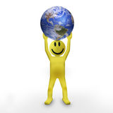Smiley 3d character. Holding the Earth Royalty Free Stock Images