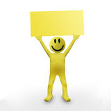 Smiley 3d character. Holding an empty sign Royalty Free Stock Images