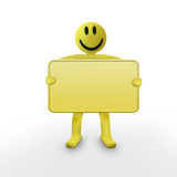 Smiley 3d character. Holding an empty sign Royalty Free Stock Photo