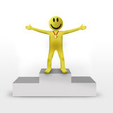 Smiley 3d character, winner Royalty Free Stock Image