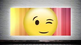 Smiley da piscadela na lona video estoque