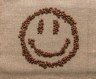 Smiley de los granos de café Imágenes de archivo libres de regalías