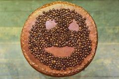 Smiley de los granos de café Imagen de archivo