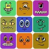 Smiley de monstre, ensemble Image libre de droits