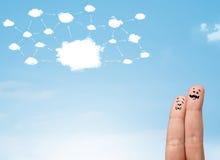 Smiley del dito con il sistema di rete della nuvola Fotografia Stock Libera da Diritti