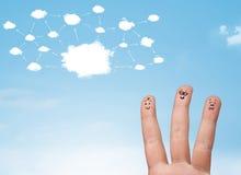 Smiley del dito con il sistema di rete della nuvola Immagini Stock