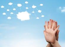 Smiley del dito con il sistema di rete della nuvola Immagine Stock Libera da Diritti