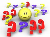 Smiley del signo de interrogación Imagen de archivo libre de regalías