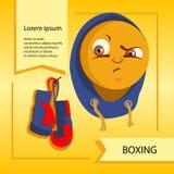 Smiley del vector Una pequeña criatura linda Expresa emociones boxeo Fotografía de archivo libre de regalías