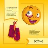 Smiley del vector Una pequeña criatura linda Expresa emociones boxeo Fotos de archivo libres de regalías