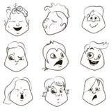 Smiley del vector Una pequeña criatura linda Expresa emociones conjunto Imágenes de archivo libres de regalías