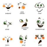 Smiley del vector Una pequeña criatura linda Expresa emociones conjunto Fotos de archivo libres de regalías