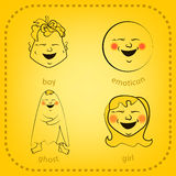 Smiley del vector Una pequeña criatura linda Expresa emociones conjunto Foto de archivo