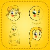 Smiley del vector Una pequeña criatura linda Expresa emociones conjunto Fotografía de archivo