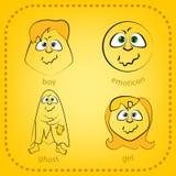 Smiley del vector Una pequeña criatura linda Expresa emociones conjunto Fotos de archivo