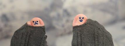 Smiley differenti sulle dita del piede Fotografia Stock Libera da Diritti