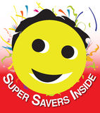 Smiley for discount sales. Smiley - 'Super savers inside', suitable for shops, special prices and discount  sales Stock Images