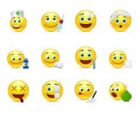 Smiley divertenti fissati alle tematiche mediche Immagini Stock Libere da Diritti