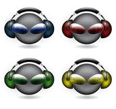 Smiley dj. Set of four smiley dj on different colors stock illustration