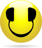 Smiley DJ. Glossy Smiley icon with headphones in place of eyes and mouth stock illustration