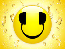 Smiley DJ Background with Music. Notes and Stars vector illustration