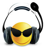 Smiley DJ with glasses and headphones. Vector art illustration royalty free illustration