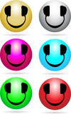 Smiley DJ Neon. Glossy Smiley icons with headphones in place of eyes and mouth royalty free illustration
