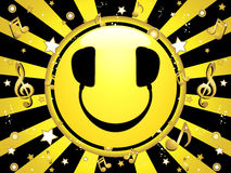 Smiley DJ Party Background. With stars and music notes royalty free illustration