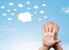 Smiley do dedo com sistema de rede da nuvem Imagem de Stock