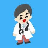 Smiley Doctor nell'arte tridimensionale del pixel o nella progettazione isometrica Immagini Stock
