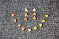 Smiley dos corações Fundo do dia do Valentim Fotos de Stock Royalty Free