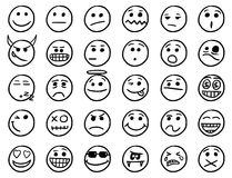 Smiley drawings icon set 1 in black and white. Set 1 of smiley icons drawings doodles in black and white Stock Photography