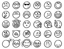 Smiley drawings icon set 2 in black and white. Set 2 of smiley icons drawings doodles in black and white Stock Photos