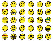 Smiley drawings icon set 1 in color. Set 1 of smiley icons drawings doodles in color Stock Photo
