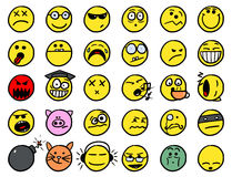 Smiley drawings icon set 2 in color. Set 2 of smiley icons drawings doodles in color Stock Photos